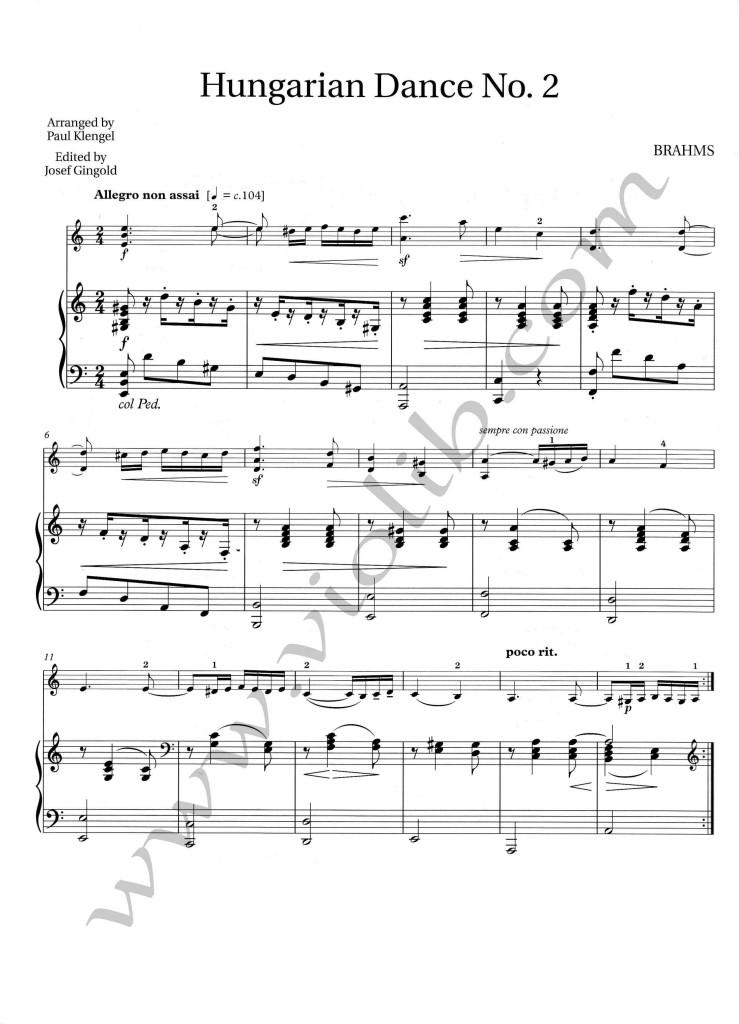 """Й. Брамс """"Венгерский танец №02"""" ноты для скрипки и фортепьяно."""