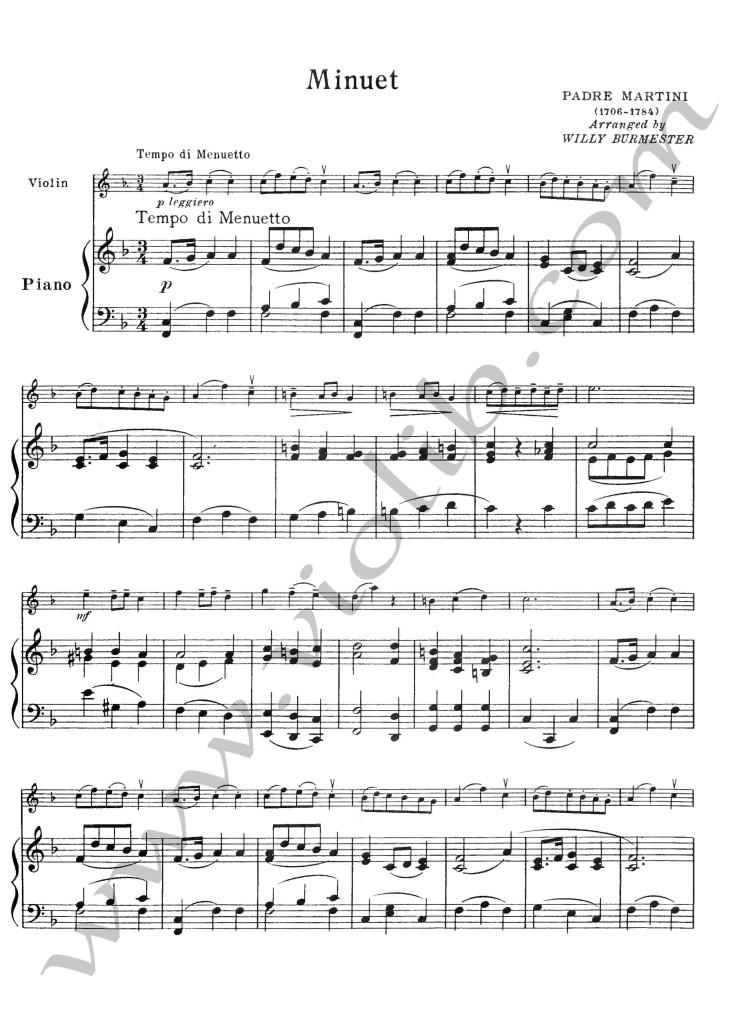 """Падре Мартини """"Менуэт"""" ноты для скрипки и фортепьяно"""