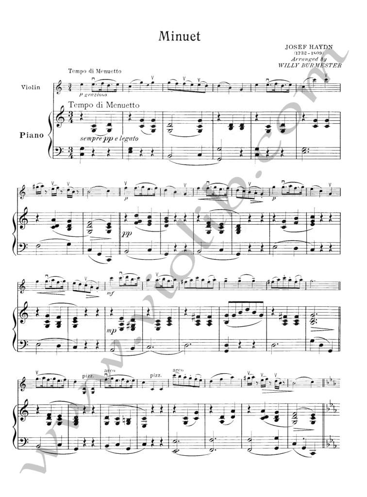 """Ф. Й. Гайдн """"Менуэт"""" ноты для скрипки и фортепьяно"""