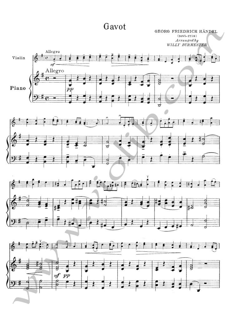 """Г. Ф. Гендель """"Гавот"""" для скрипки и фортепьяно."""