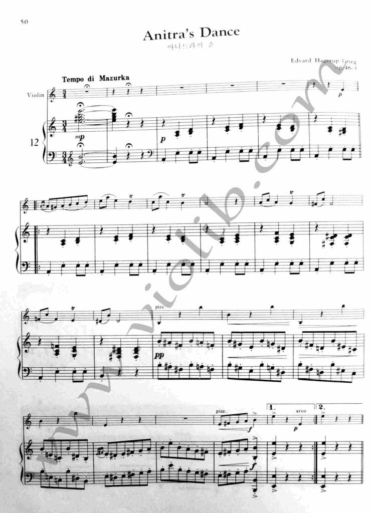 """Э. Григ """"Танец Анитры"""" ноты для скрипки и фортепьяно. Скачать ноты"""