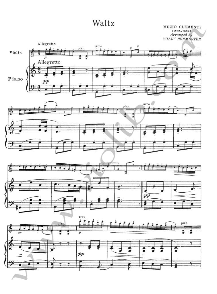 """Муцио Клементи """"Вальс"""" ноты для скрипки и фортепьяно"""