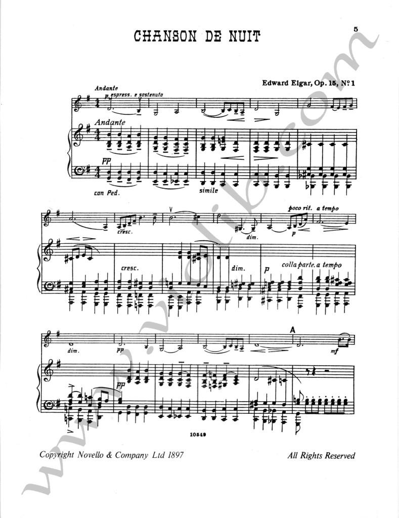 """Эдуард Элгар """"Ночная песня"""" ноты для скрипки и фортепьяно"""