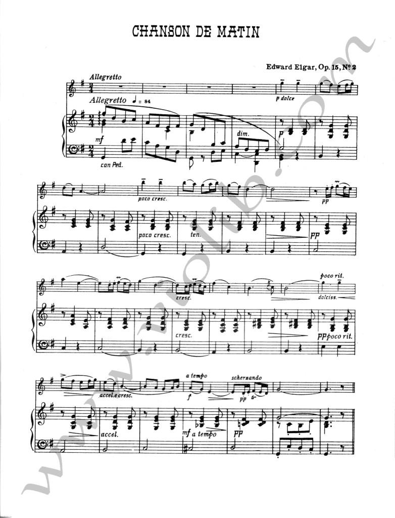 """Эдвард Элгар """"Утренняя песня"""" ноты для скрипки и фортепьяно"""