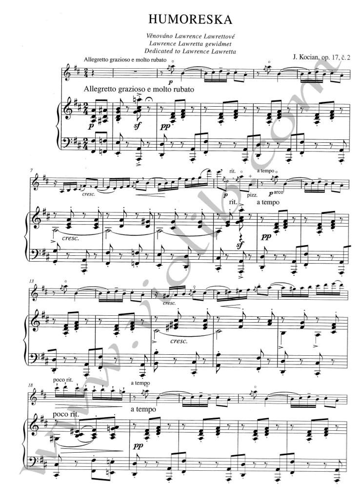 """Я. Коциан """"Юмореска"""" ноты для скрипки и фортепьяно."""