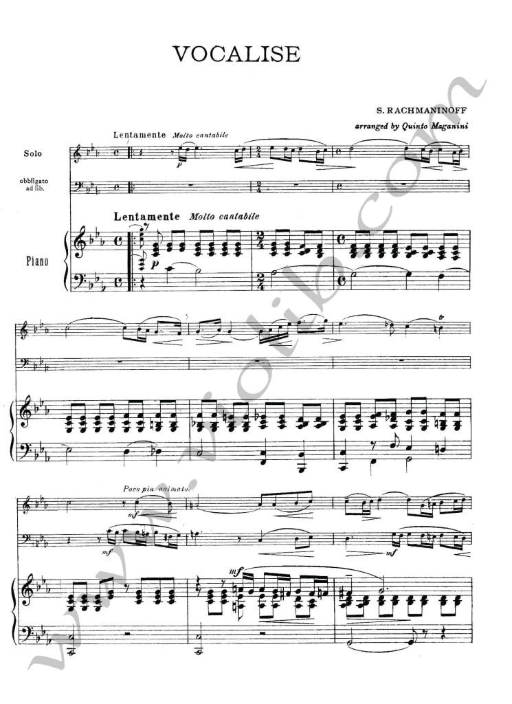 """С. Рахманинов """"Вокализ"""" (скрипка, виолончель, фортепьяно) ноты для трио."""