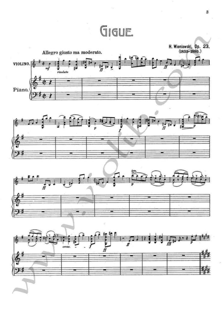 """Г. Венявский """"Жига"""" ноты для скрипки и фортепьяно"""