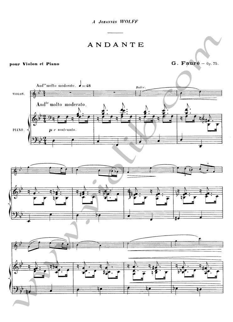 """Габриель Форе """"Анданте"""" ноты для скрипки и фортепьяно"""