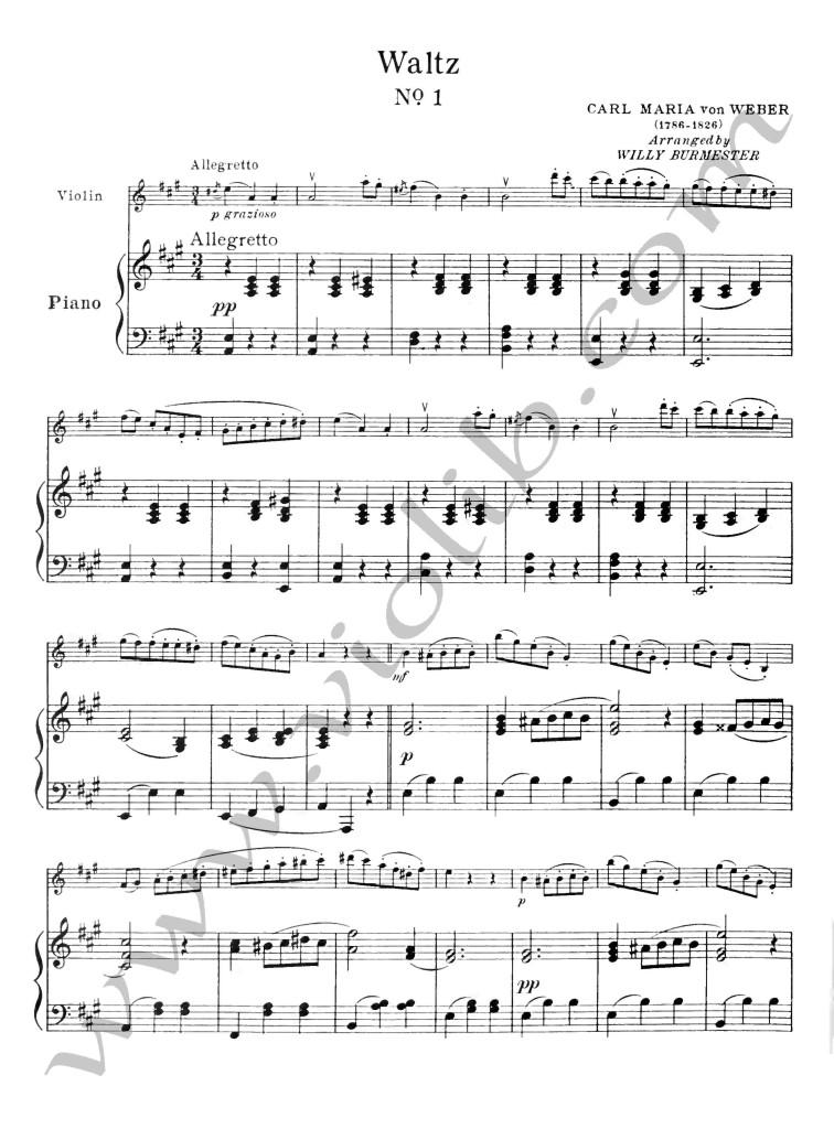 """Карл Мария фон Вебер """"Вальс №1"""" ноты для скрипки и фортепьяно"""