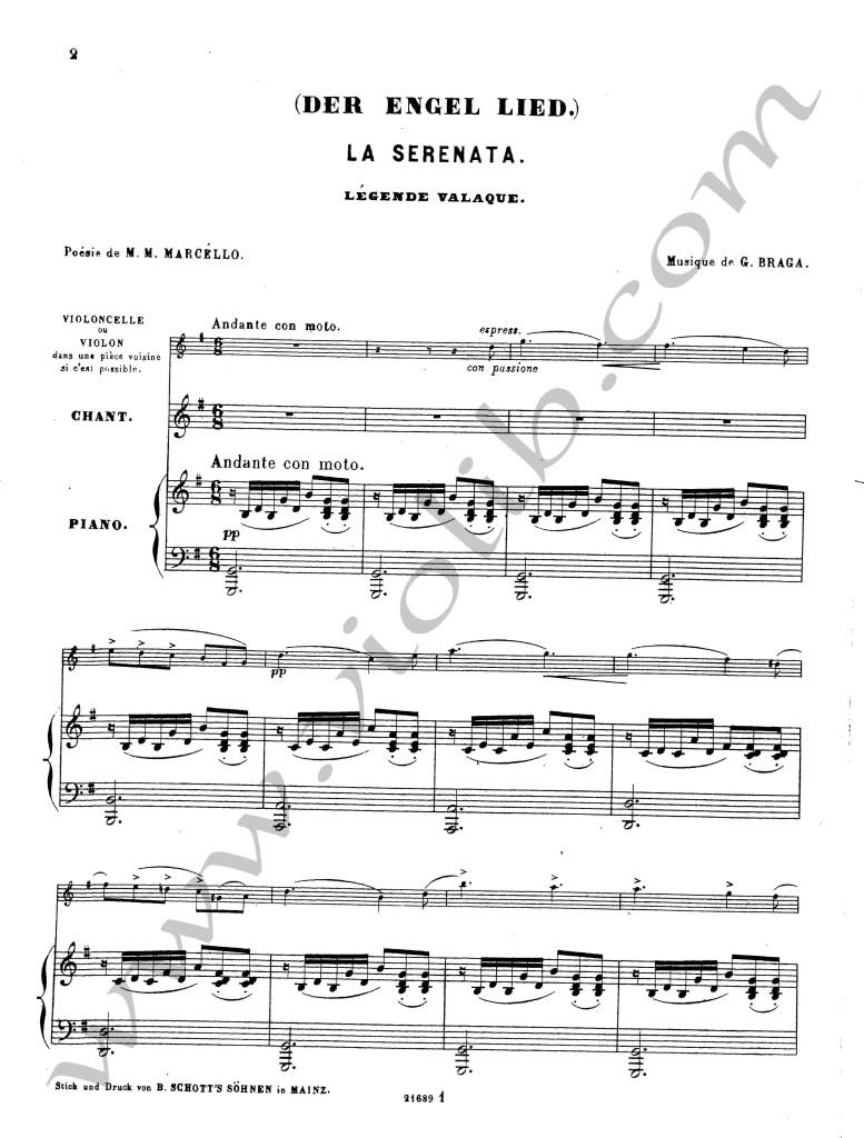 """Г. Брага """"Серенада ангелов"""" ноты для фортепьяно, скрипки и голоса"""