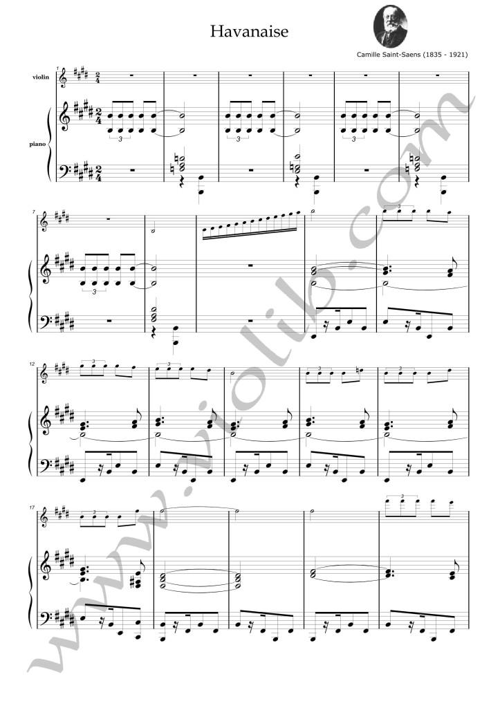 """К. Сен-Санс """"Хаванез"""" ноты для скрипки и фортепьяно"""