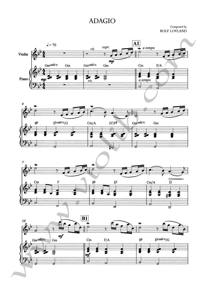 """Р. Ловланд (""""Secret Garden"""") """"Adagio"""" ноты для скрипки и фортепьяно"""
