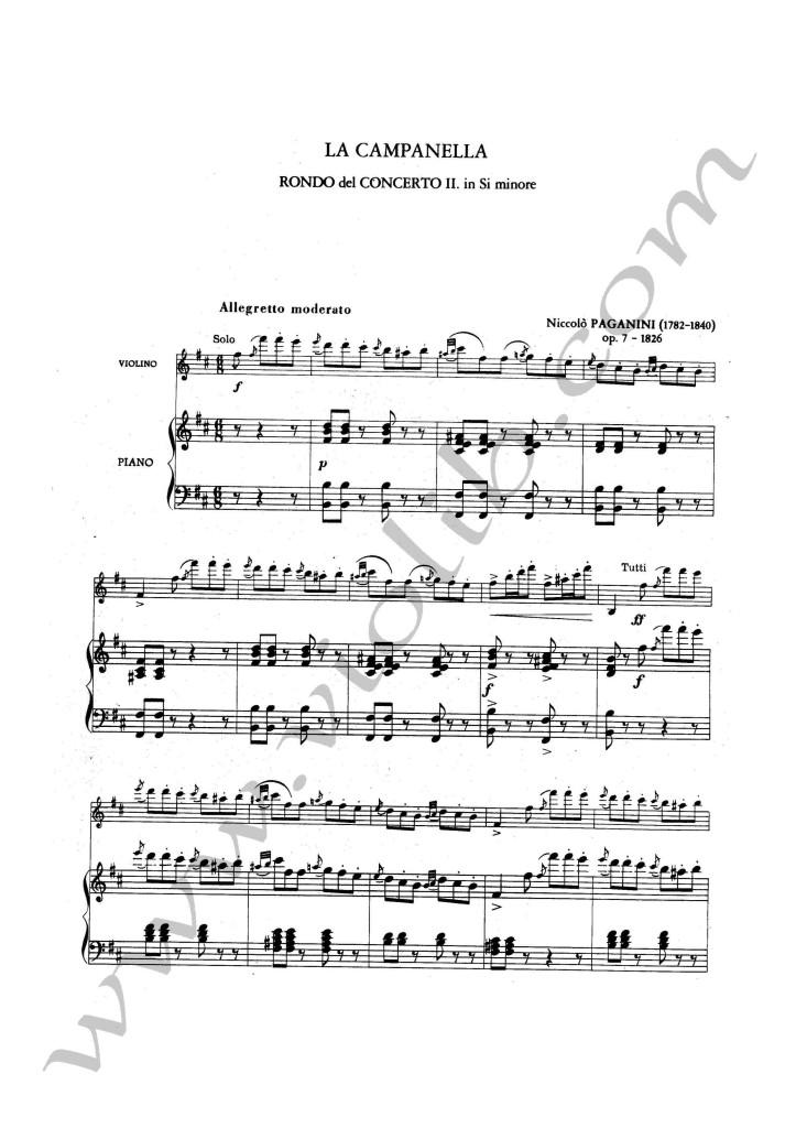 """Н. Паганини """"Кампанелла"""" ноты для скрипки и фортепьяно"""