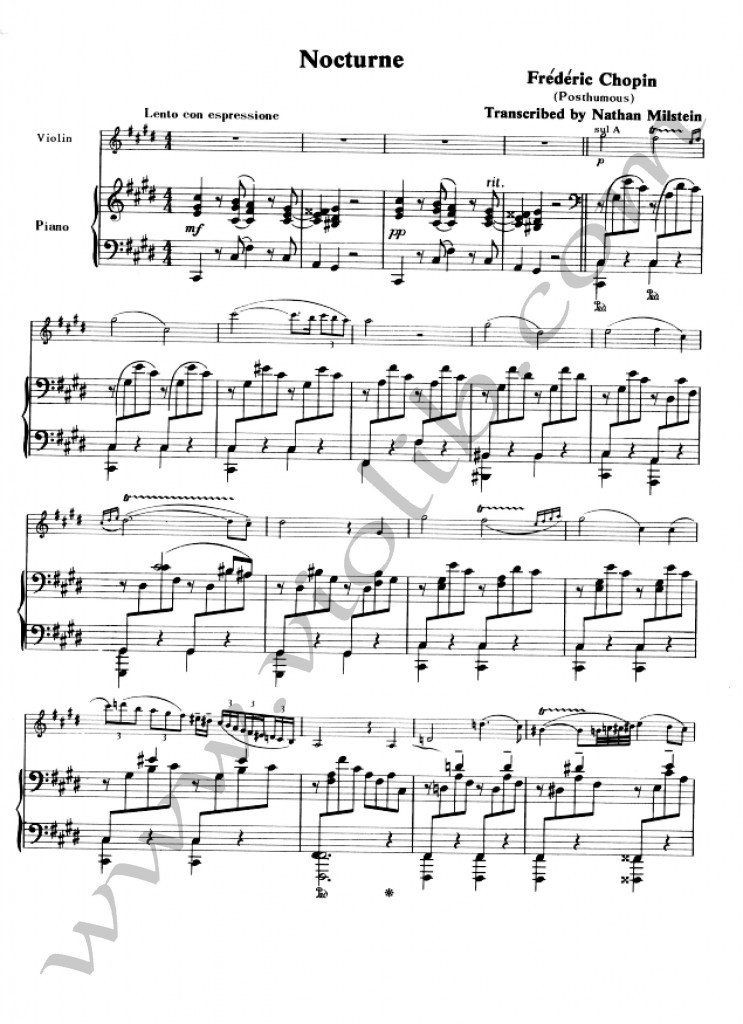 """Ф. Шопен """"Ноктюрн №20"""" до-диез минор. Ноты для скрипки и фортепьяно"""